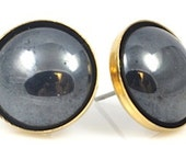Vintage Hematite and Gold Post Earrings
