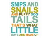 Children's Wall Art / Nursery Decor Snips and Snails and Puppy Dog Tails  8x10 inch poster print by Finny and Zook