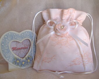 SALE, SALE, BRIDAL Drawstring Bag, Peach Lace Overlay, Keepsake Bag, Heirloom Bag, MONeY Bag, Wedding Accessory