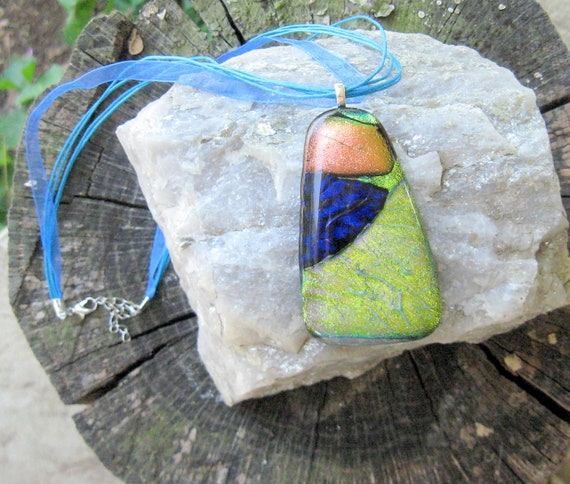 FUSED Dichroic GLASS NECKLACE Pendant with Peach,Gold, Green, Blue MultiStrand Cord Wearable Art