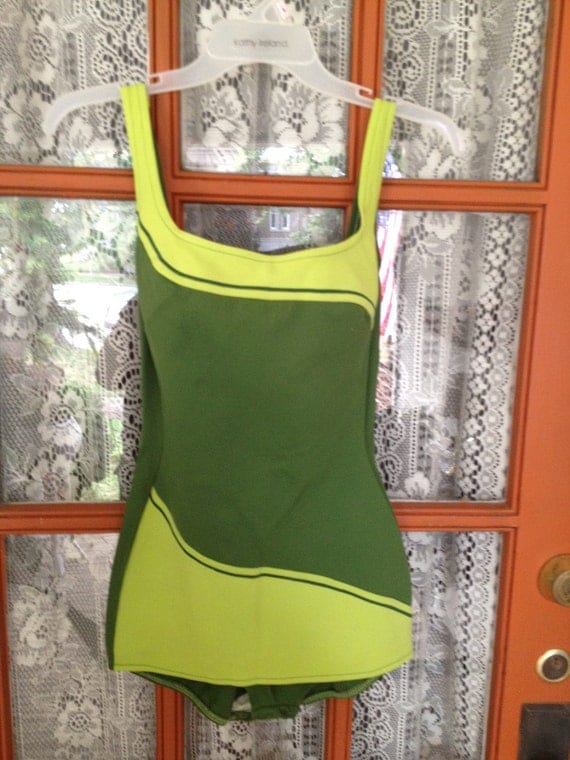 Vintage Olive and Lime Green One Piece Swim Bathing Suit 1960s to 70s FREE USA SHIPPING