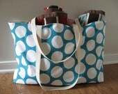 Beach Bag Extra Large - White Polka Dot on Turquoise Beach Tote - Water Resistant Lining - Interior Pocket