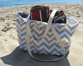 Beach Bag Extra Large - Gray & White Chevron Beach Tote - Water Resistant Lining - Interior Pocket