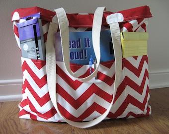 Large Teacher Tote - Reversible Teacher Tote - Chevron Tote Bag - Teacher Appreciation Gift - Red Chevron and Polka Dots - Personalized