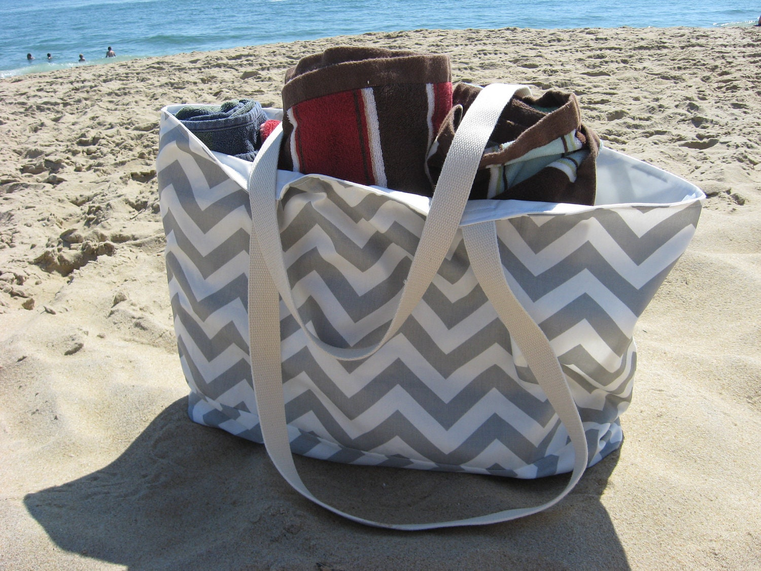 Beach Bag Extra Large Gray & White Chevron Beach Tote