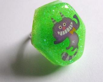 Cheshire Purple Cat Resin Ring