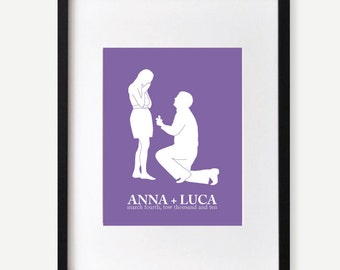 Personalized Wedding Gift, Engagement Gift, Couples Silhouette, Name Print, Proposal Scene, Engagement Momento