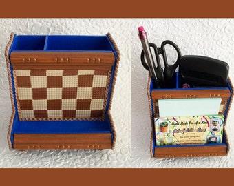 Desk Organizer Checker Board  Polymer Clay Design with Accessories