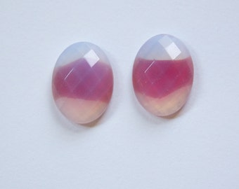 Vintage Red Givre Faceted Cabochons 18mm x 13mm cab460A