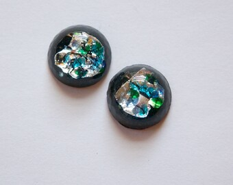 Vintage Black Glass Round Cabochons with Silver Foil 15mm (2) cab445L
