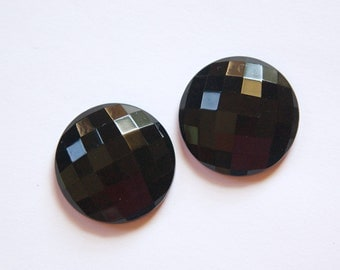 Vintage German Black Faceted Glass Cabochon 24mm cab720E