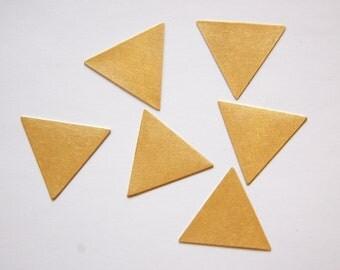 No Hole Raw Brass Flat Triangle Charms Drops 30mm (6) mtl147C