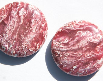 Vintage Metallic Rose and White Lucite Cabochons 25mm cab549A