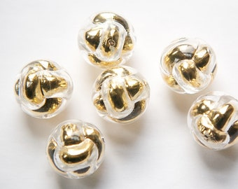 Vintage Metallic Clear and Gold Unusual Plastic Beads 18mm bds108J