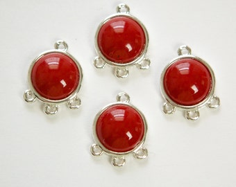 Acrylic Dark Red Cabochon in 4 Loop Silver Tone Setting pnd162D