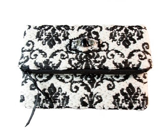 Black and White Tapestry Clutch with Leather and Swarovski Applique