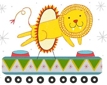 LION CAR : 8x10 inch, 5 color screenprint