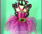 AUGUST SALE  - Butterfly Fairy Costume  - children's size 4/6/8 - The Sparkle Faerie in magenta and plum