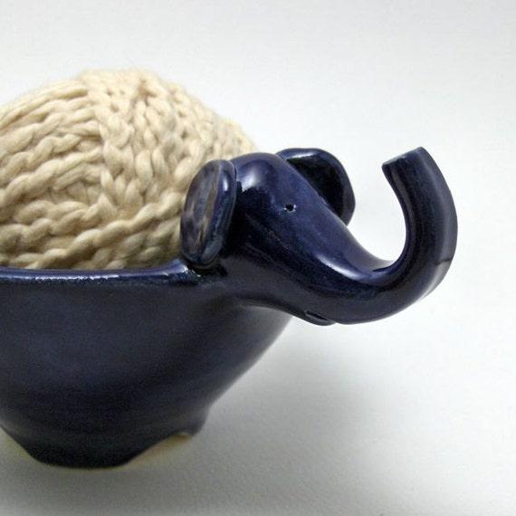 Elephant Yarn Bowl in Cobalt Blue