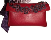 Red and Aubergine Leather Envelope Clutch
