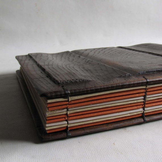 Photo album wooden covers Landscape Scrapbook with interleafs  Reclaimed wood