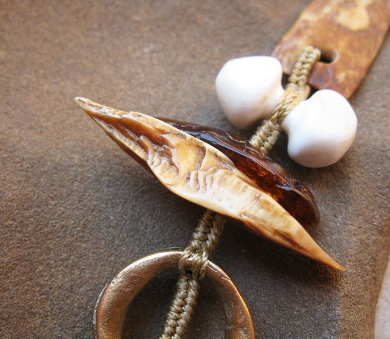 Desert Primitive Fossil Walrus Ivory, Shamans Amulet, Bronze, Naga Shell and Baltic Amber Pendant on Handwoven Cord
