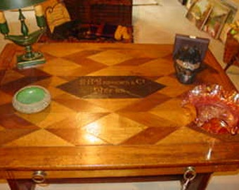 Oak Inlaid Table or Desk With Advertising One Drawer  REDUCED