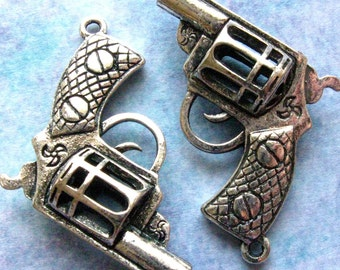 Silver Gun Charms 33mm - Set of 3 - Large Antique Silver Finish Revolver Pendant 33mm x 33mm (SC0060)