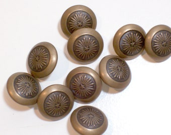 Gold Buttons, Goldtone Metal Buttons 3/4 inch diameter, Starburst Design x 25 pieces