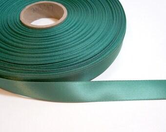 Green Ribbon, Light Pine Green Satin Ribbon 5/8 inch wide Single-Faced x 20 yards