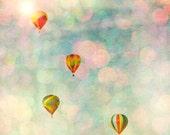 24x24 print Balloon photography, large art, poster, nursery decor, pink, carnival photograph, baby blue, geometric, bokeh circles  - 24x24