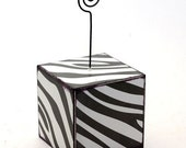 Wire Photo or Note Holder Black and White Zebra Print