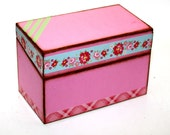 ON SALE Recipe Box Pink Green Washi Tape Fits 4x6 Recipe Cards
