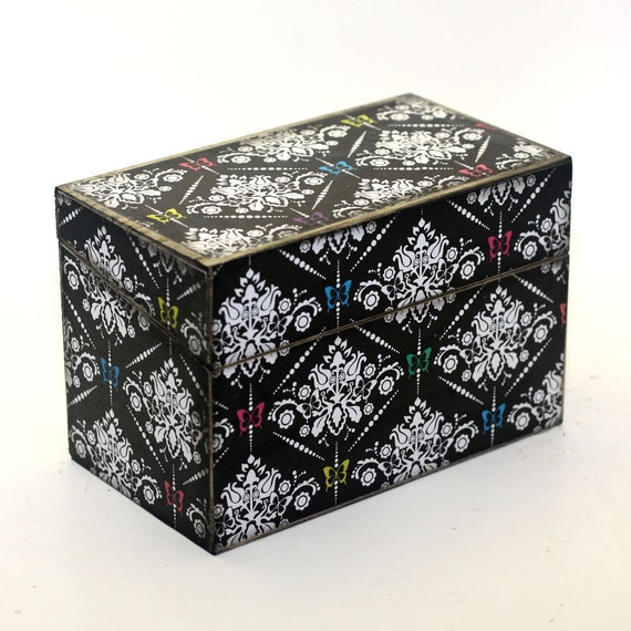 Recipe Box Shabby Black and White Damask With Butterflies READY TO SHIP Fits 4x6 Cards