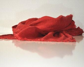 Red linen scarf women men spring summer autumn winter fashion
