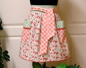 Modern Chic Half Apron, Vintage Flowers - Flair for Cooking Cute Waist Apron