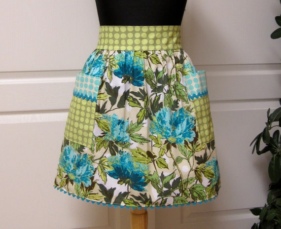 Modern Chic Half Apron, Retro Turquoise Amy Butler - Cute Handmade Kitchen Apron - Flair for Cooking Womens Aprons