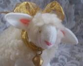 Lamb Ornament Soft Sculpture Miniature Lamb with Gold Bow
