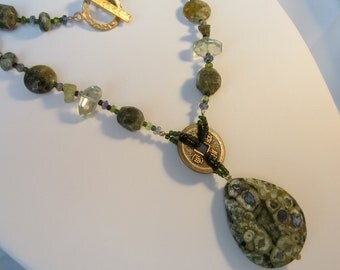 Ocean Jasper Necklace - Green Amethyst Necklace - Statement Necklace - Bohemian Necklace - Stone Necklace