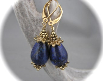 Gorgeous Lapis Lazuli and Gold Teardrop Earrings - Semiprecious Gems