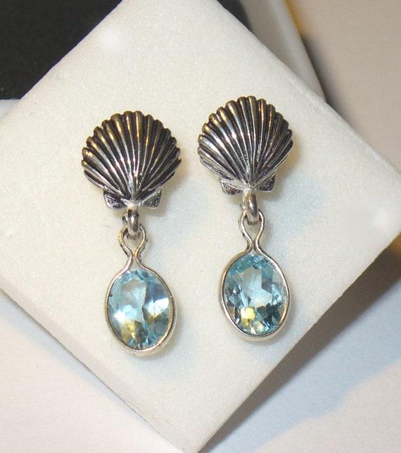 Sky Blue Topaz Earrings in Fancy Dangle Setting
