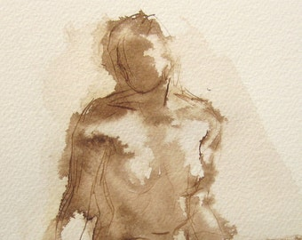 Female Figure Drawing  - Ink Wash on Paper - by Michelle Arnold Paine