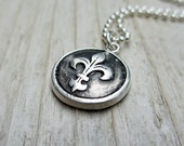 Silver Fleur de Lis Necklace - Wax Seal Style Pendant, Fine Silver PMC, Sterling Silver, Vintage-style, Rustic, Gift under 50