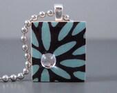 SALE Aqua Rain- A Scrabble Tile Necklace in a tin