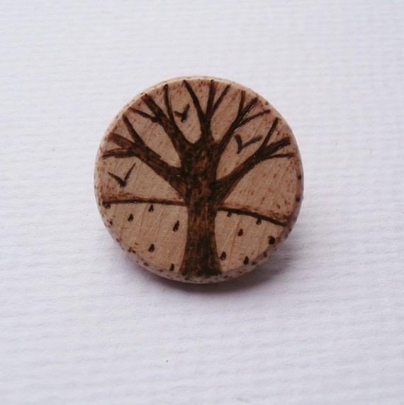 Tree Brooch - Art on Wood - UK, Europe, International Shipping
