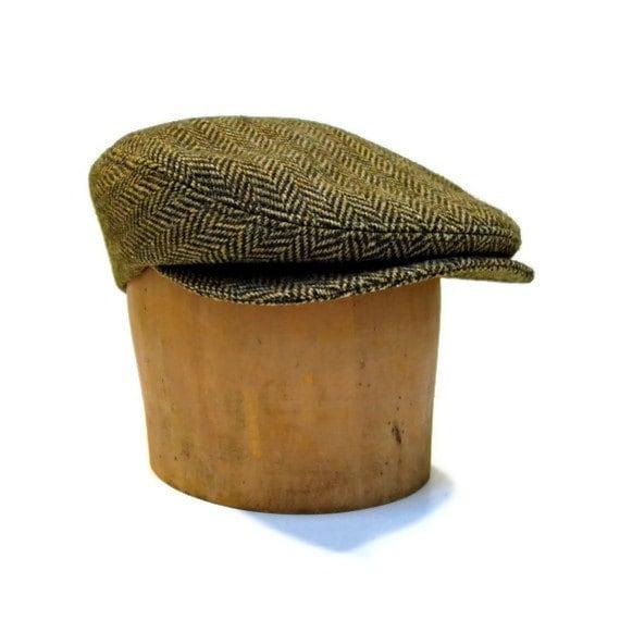 Men's Hat - Driving Cap in Vintage Herringbone Tweed - Made to Order
