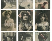 Vintage Actresses no.093 ATC ACEO cards digital Collage scrap sheet Buy 3 get 4th free