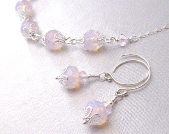 Pink Opalite Necklace and Earrings Set, Sterling Silver Chain, Sterling Hooks