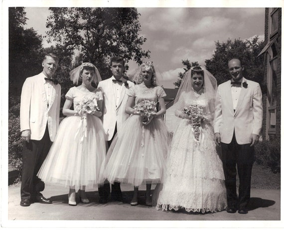 Vintage Wedding Dresses 50s 60s: Vintage 1950's Wedding Photo Bridal Party Black & White 8
