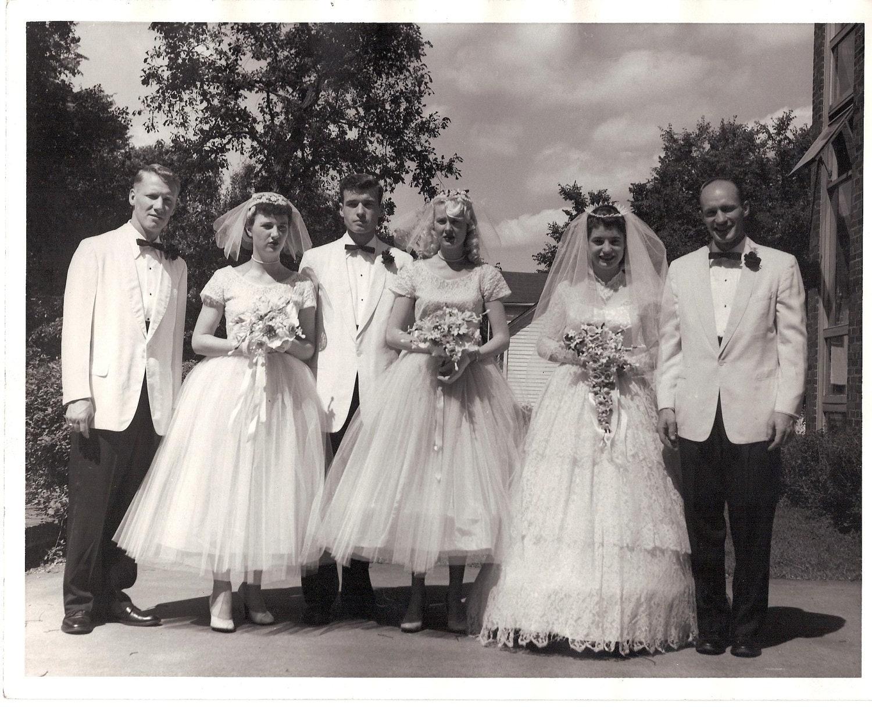 Vintage 1950's Wedding Photo Bridal Party Black & White 8